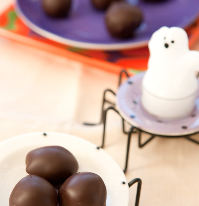 Trick or Truffle, Halloween Chocolate Coated Dulce de Leche Truffles