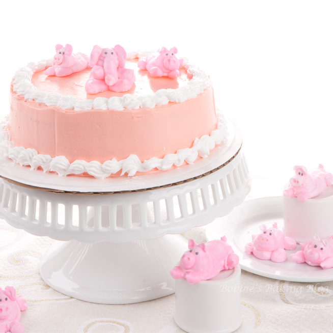 Baby Shower Cake, With Egg Yolk Butter Cream