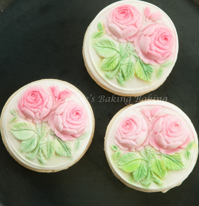 Almond Sugar Cherry Blossom and Rose Cookies