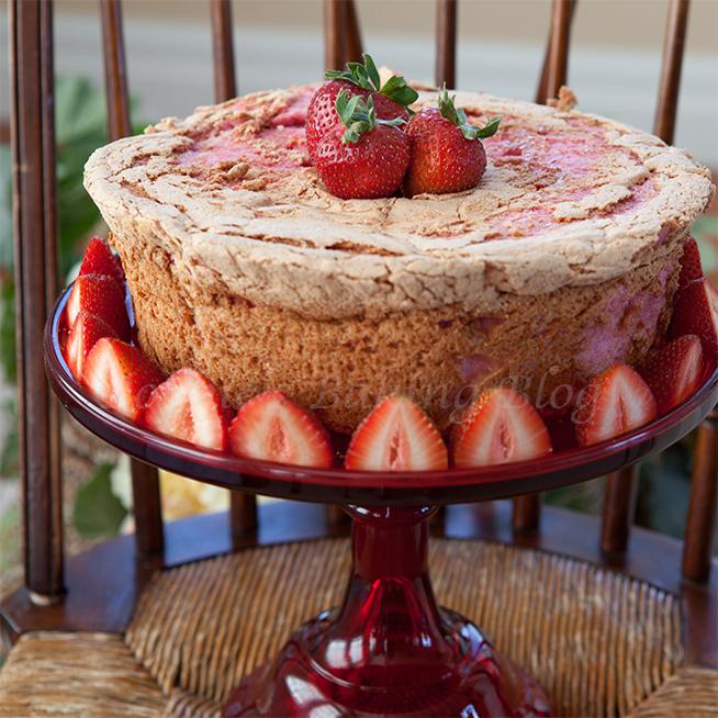heart shaped strawberry angel food cake