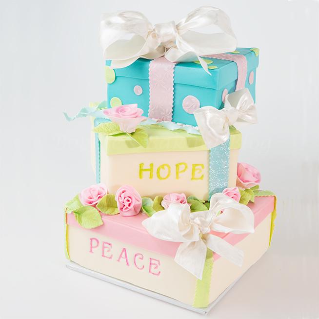 Tiffany's gift box cake tutorial