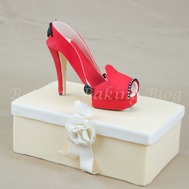 Wicked Red Fondant High Heel Shoe