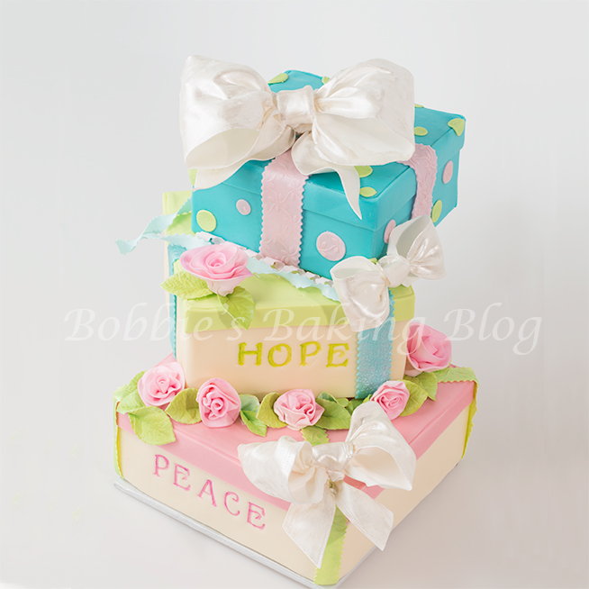 how to make a tiered gift box cake