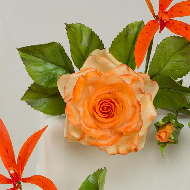 how to make gumpaste long stem roses on a cake