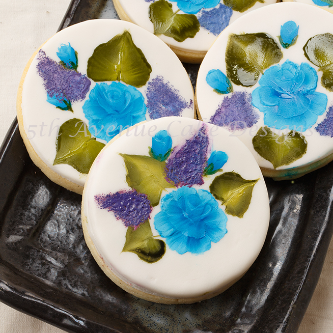 Painted Roses on a Sugar Cookie
