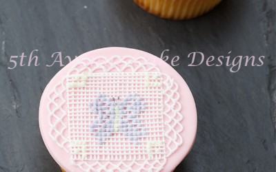 Royal Icing Cross Stitch Butterfly Cupcakes