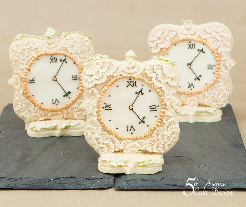 Brush Embroidery Vintage Clock Cookies