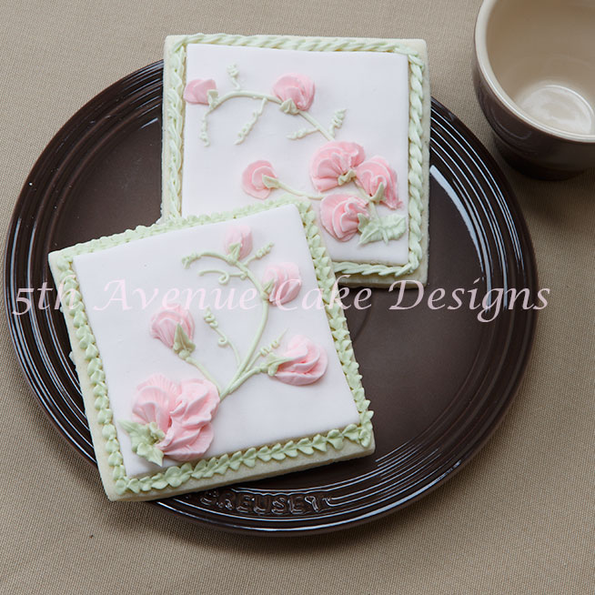 Sweet Pea Spray Cookie Art Lesson