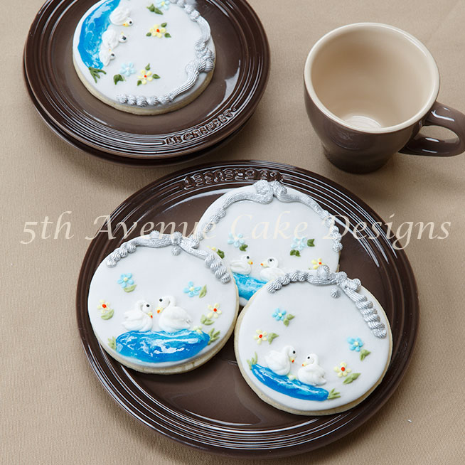 Royal Icing Piped Swans Chilling in a Pond
