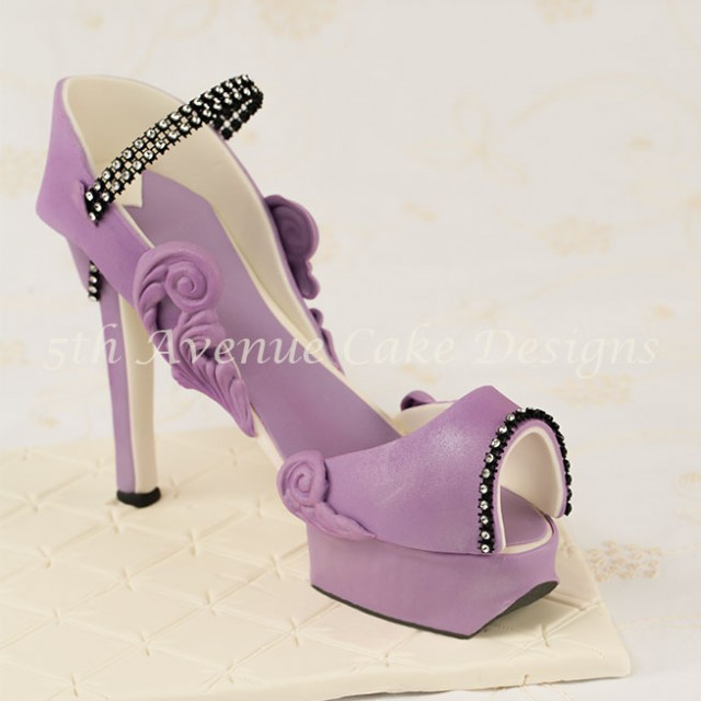 learn how to make an inspired Charlotte Olympia fondant platform high heel shoe
