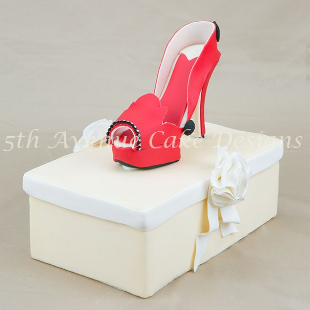 learn how to make an inspired Christian Louboutin fondant platform high heel shoe