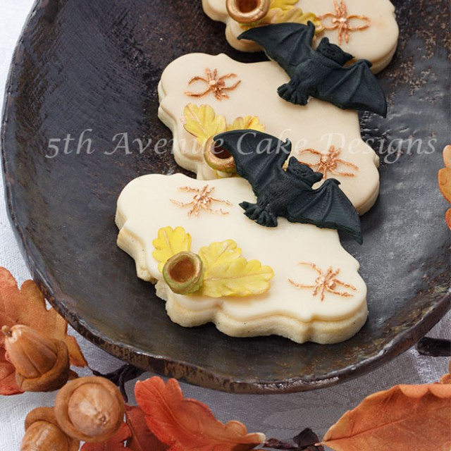Halloween cookies with sugar bats and spider