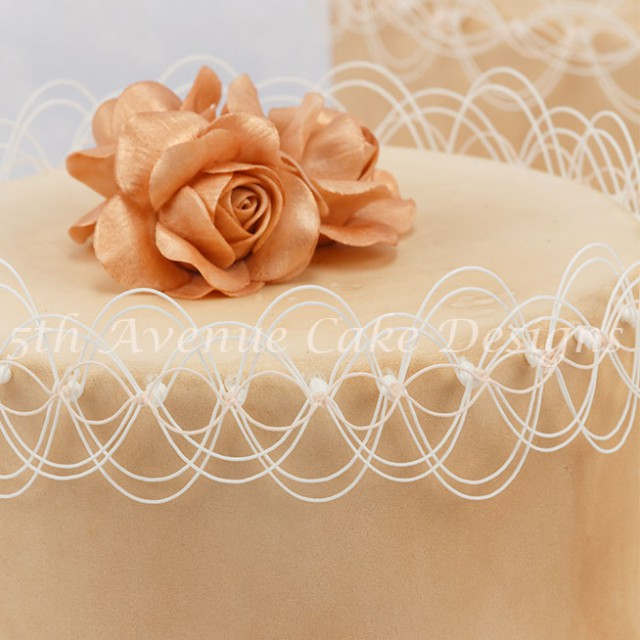 Exquisite Oriental string work tutorial work with copper roses by Bobbie Noto