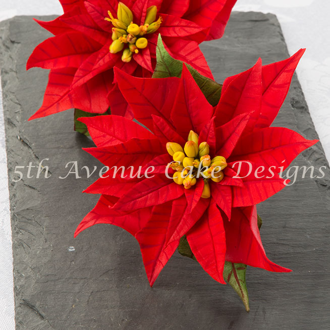 Happy Holidays Flower Paste Poinsettia Spray