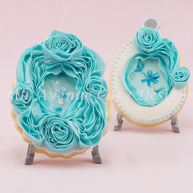 Ruffled fondant rose frame cookie by Bobbie Noto