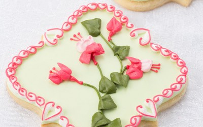 Lovely Royal Icing Fuchsia Flower Spray Cookies