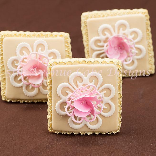 Vintage Lace Blooming Garden Rose Wedding Cookie ...