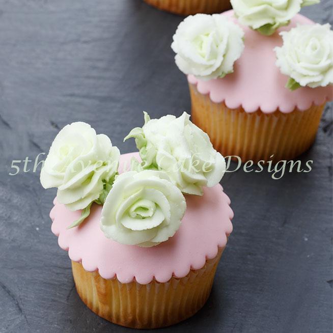 Royal Icing Roses and Ranunculus cupcake bt Bobbie Noto