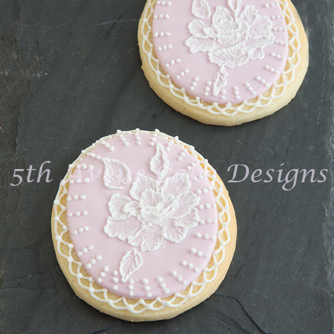 Wedding brush embroidery sugar cookies by Bobbie Noto