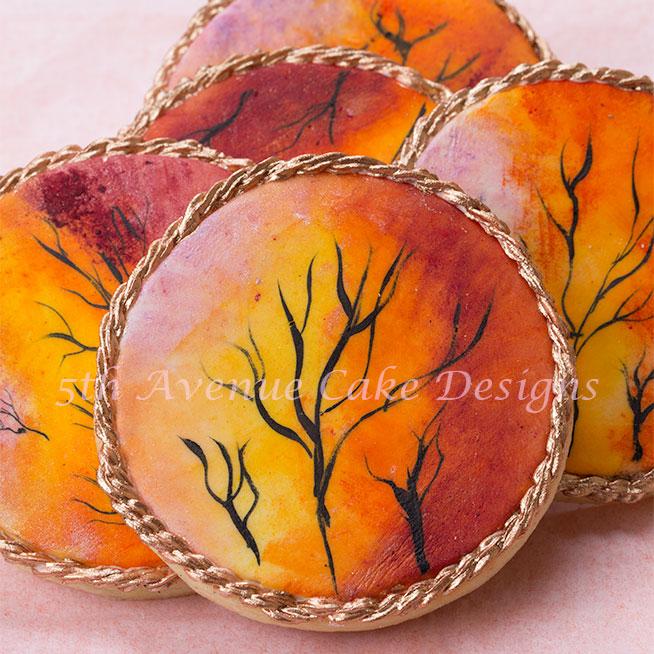 Hand painted Autumn sunset cookies