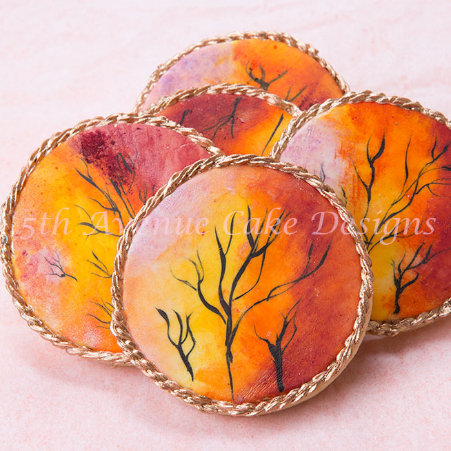 Hand painted decorated Fall sunset cookies by Bobbie Noto