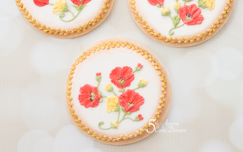 Brush Embroidery Poppy Cookies Art Lesson 🌼⚜️🏡