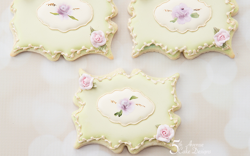 Hand Painted Rose Plaque Cookie Art Lesson