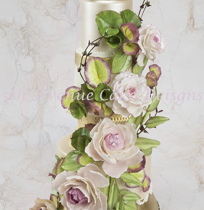 Peony and Exotic Foliage Swag Cake