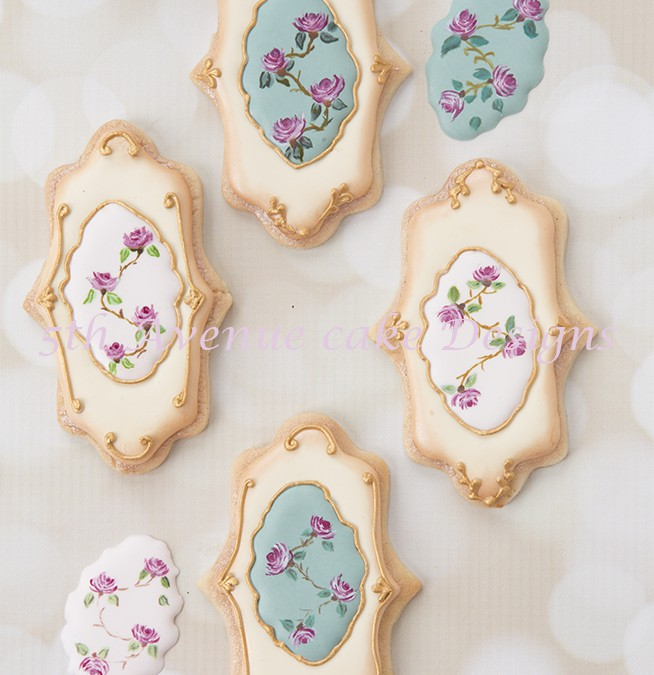 Vintage Rose Wedding Cookies