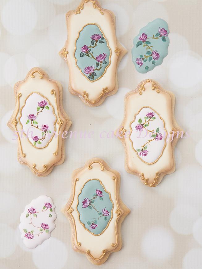 Free hand painted vintage rose wedding cookies