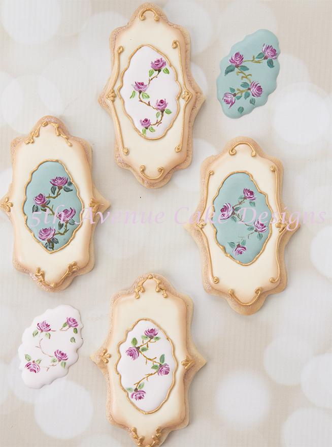 Freehand painting vintage rose cookies