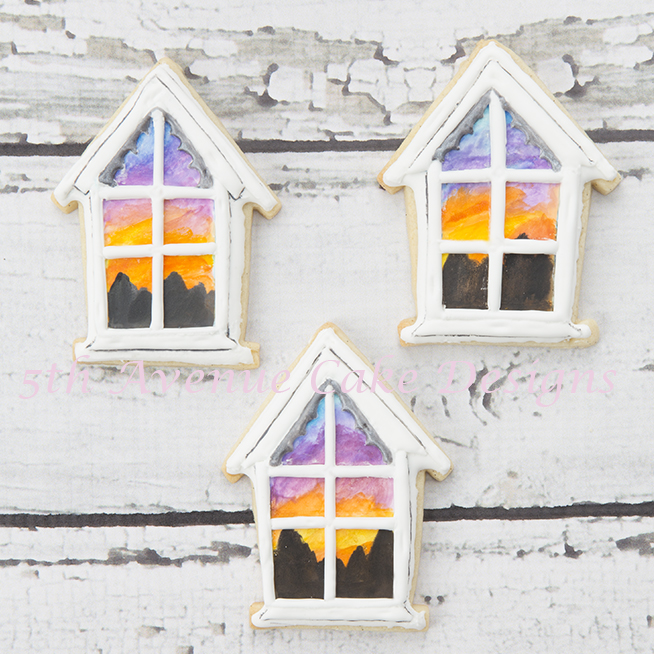 Watercolor Sunset Window Scene Cookies