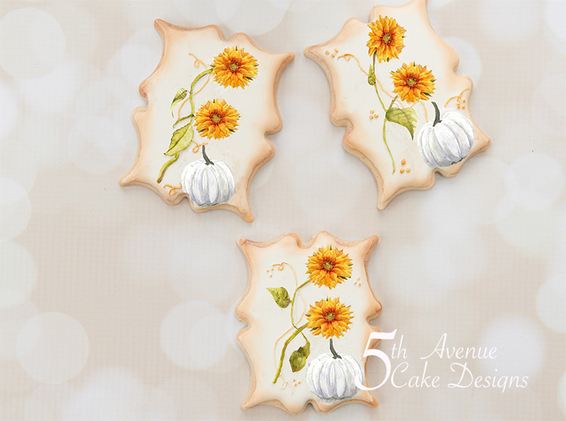 Dimensional Watercolor Sunflower and Pumpkin Cookie Art Course