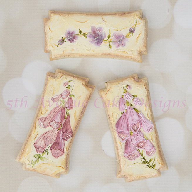 Vintage Foxglove Flower Cookies with a Stucco Background Set