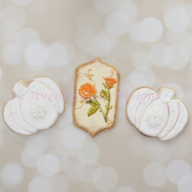 Vintage Autumn Cookie Set with Pumpkins and Roses