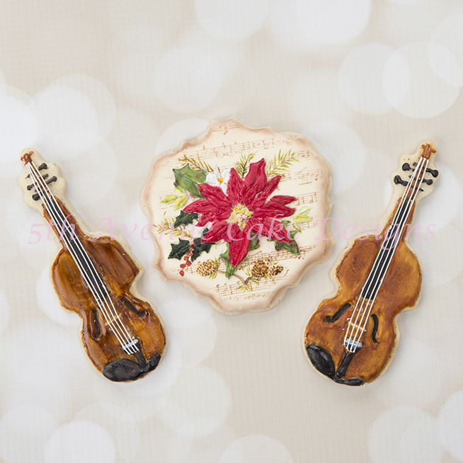 Christmas Poinsettia spray with violin Cookies