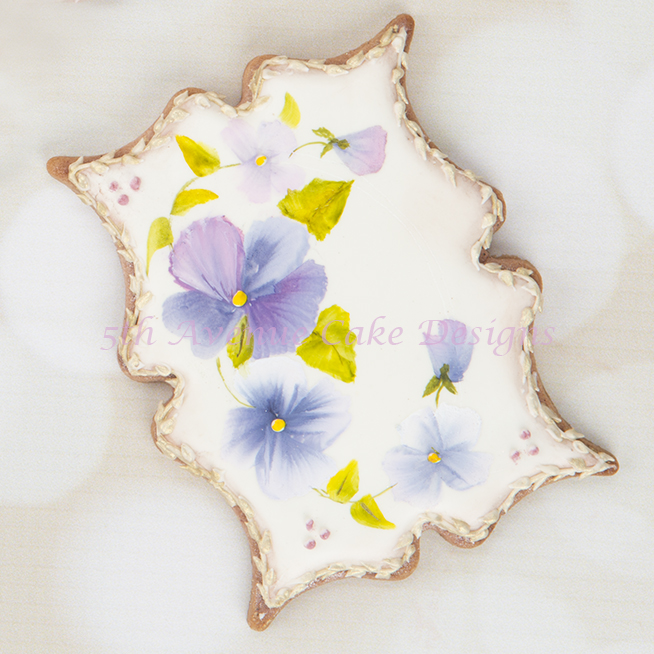 Hand Painted Pansy Cookies