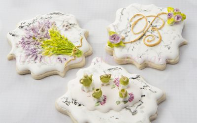 Dimensional Stone Marble Cookies 🍵🌿💐