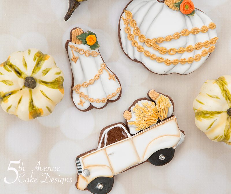 Dimensional Watercolor Fall into Autumn Harvest Cookie Art Class🍊🍁🌻
