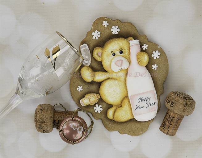 Dimensional New Year's Teddy Bear Cookie