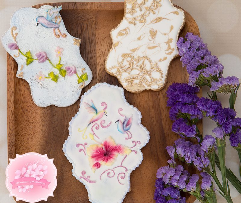 5ᵗʰ Avenue's Alluring Flowers with Background Cookie Art Lesson 💮🌹🌺