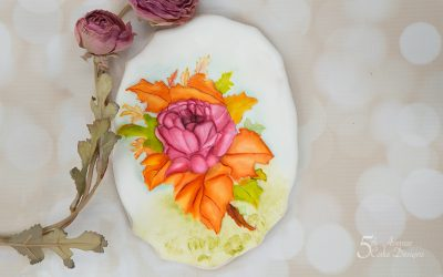 David Austin Rose Spray Cookie Art Lesson 💐🌹🍃