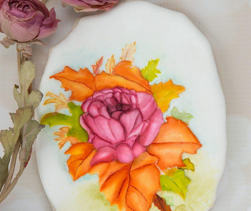Autumn Rose Spray Cookie Art Lesson 💐🍁🍂
