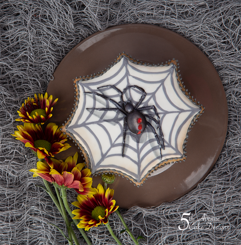 Creepy Black Widow Spider Cookie