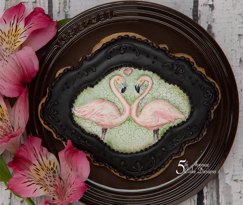 Flamingos in Love Cookie Art Frame Mini Lesson ❣️🦢🥰