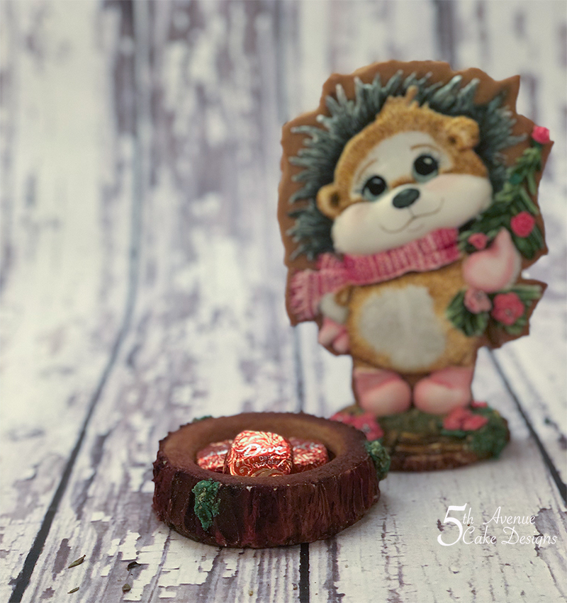 Helen the Valentine Hedgehog on a Tree Trunk Cookie Box