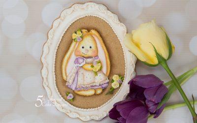 Vintage Bunny Cookie Frame 🐰🌹🌱