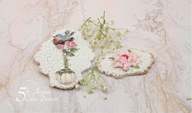 Birdtopia with a Vintage Cracked Glaze Cookie Art Lesson 🌹🕊️🖌️