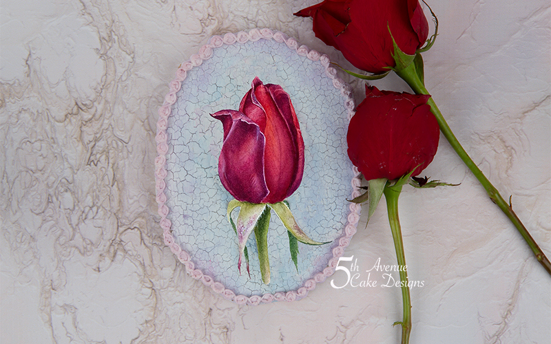 5th Avenue Red Rosebud with Cracked Glazed Background Cookie Art Lesson🍃🌹💞