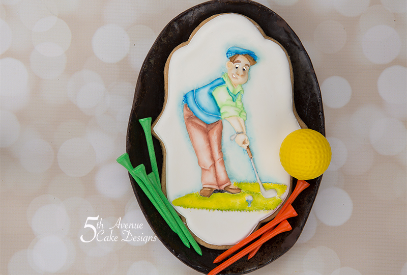 5ᵗʰ Avenue's Dimensional Watercolor  Father's Day Cookie Art Lesson🏌️♂️⛳❤️